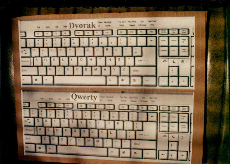 dvorak and qwerty keyboards copied and glued to board for test